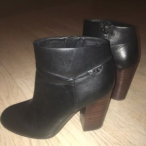 Tory Burch Fulton Black Leather Booties, Size 38